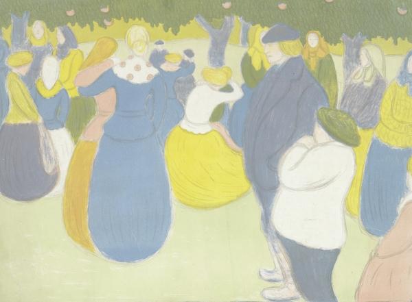 ヨージェフ・リップル=ローナイ《村の祭り(画家=版画家集)》1896年 多色刷りリトグラフ  アムステルダム、ファン・ゴッホ美術館